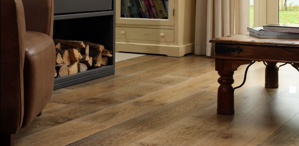Textured, white lime,dark stained and lacquered Flooring